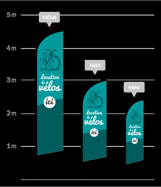drapeau publicitaire location de vélos