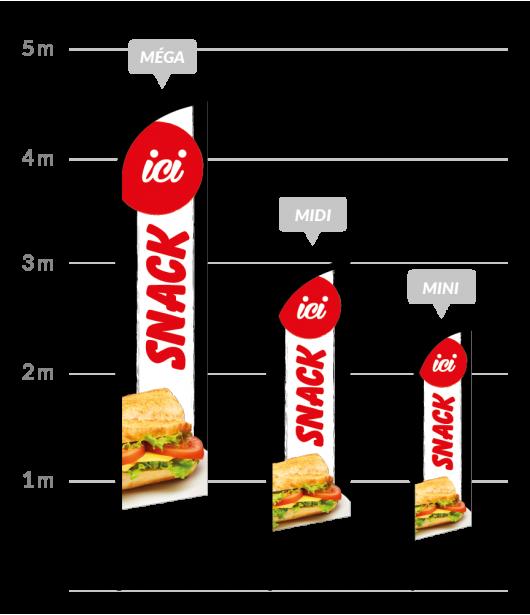 drapeau publicitaire snack