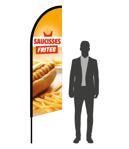 drapeau flamme saucisses frites