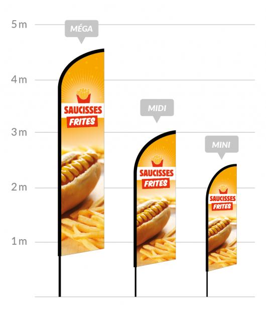 drapeau publicitaire saucisses frites