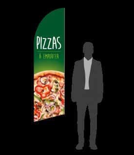 drapeau flamme pizzas à emporter