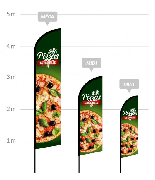 drapeau publicitaire pizzas artisanales